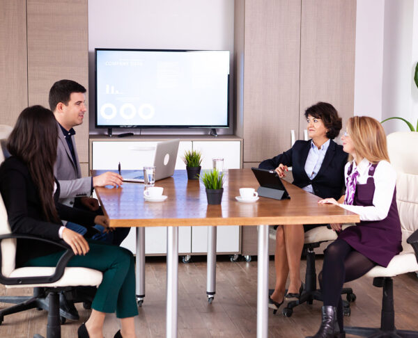 Picture of business meeting in conference room. Corporate meeting.